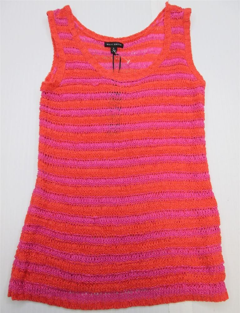 new WILLI SMITH Women s Size L Striped Pink Orange Tank Top Netted Shirt  69804f0f5