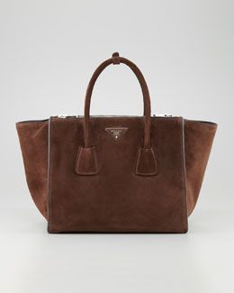 14ab09a2578f V1NB2 Prada Suede Twin Pocket Tote Bag, Brown | SHOPPING LIST ...