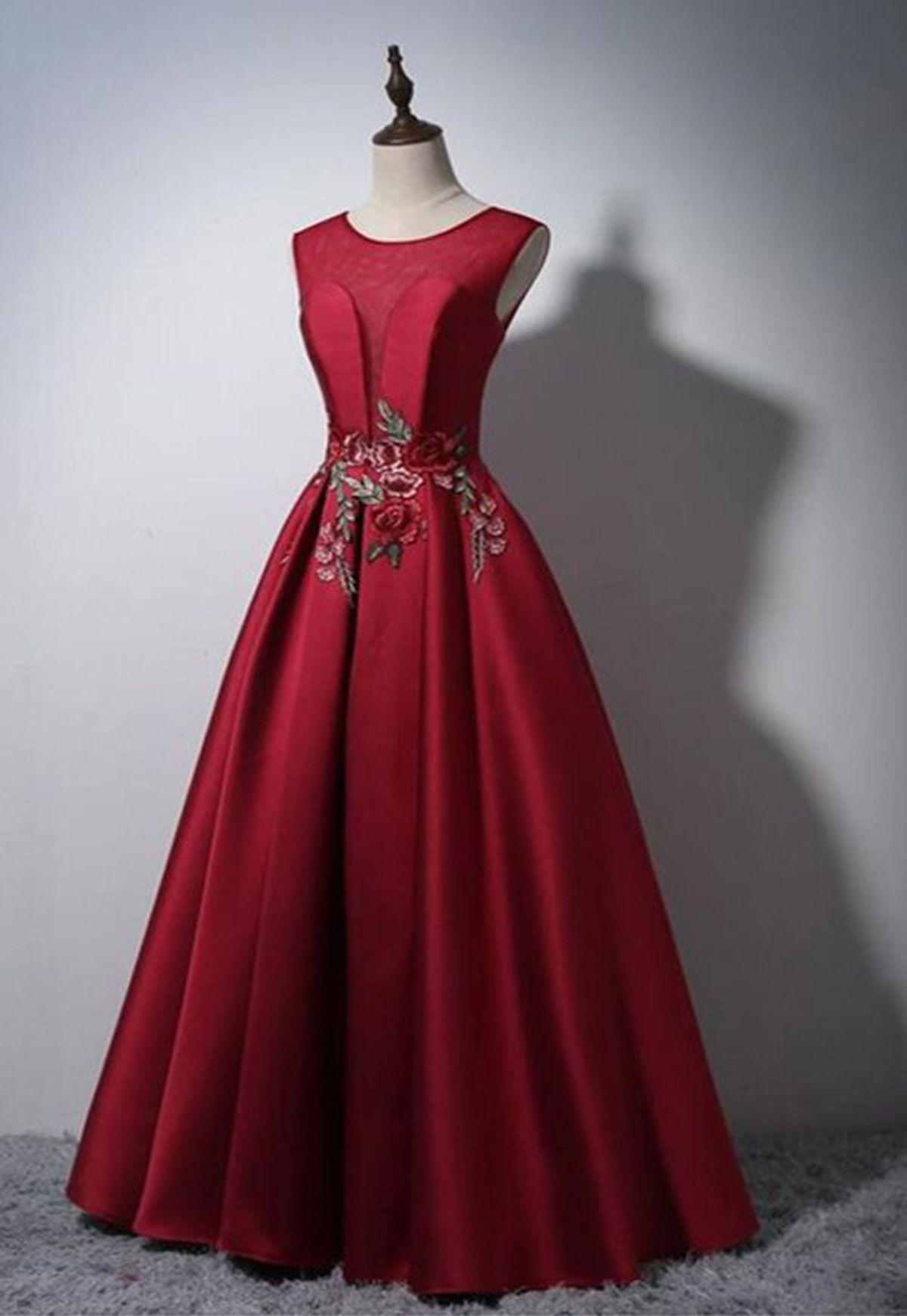 Red satin scoop neck long aline senior prom dress with flower