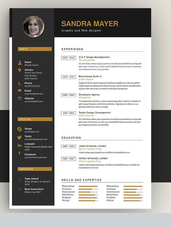 Interesting Resume Templates 50 Awesome Resume Templates 2016   Graphic Design  Pinterest
