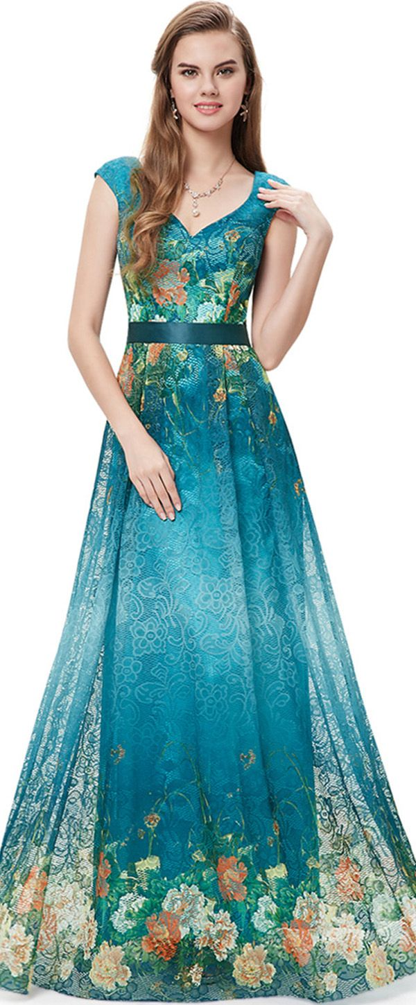 In Stock Delicate Printed Lace V-neck Neckline A-line Prom Dresses ...