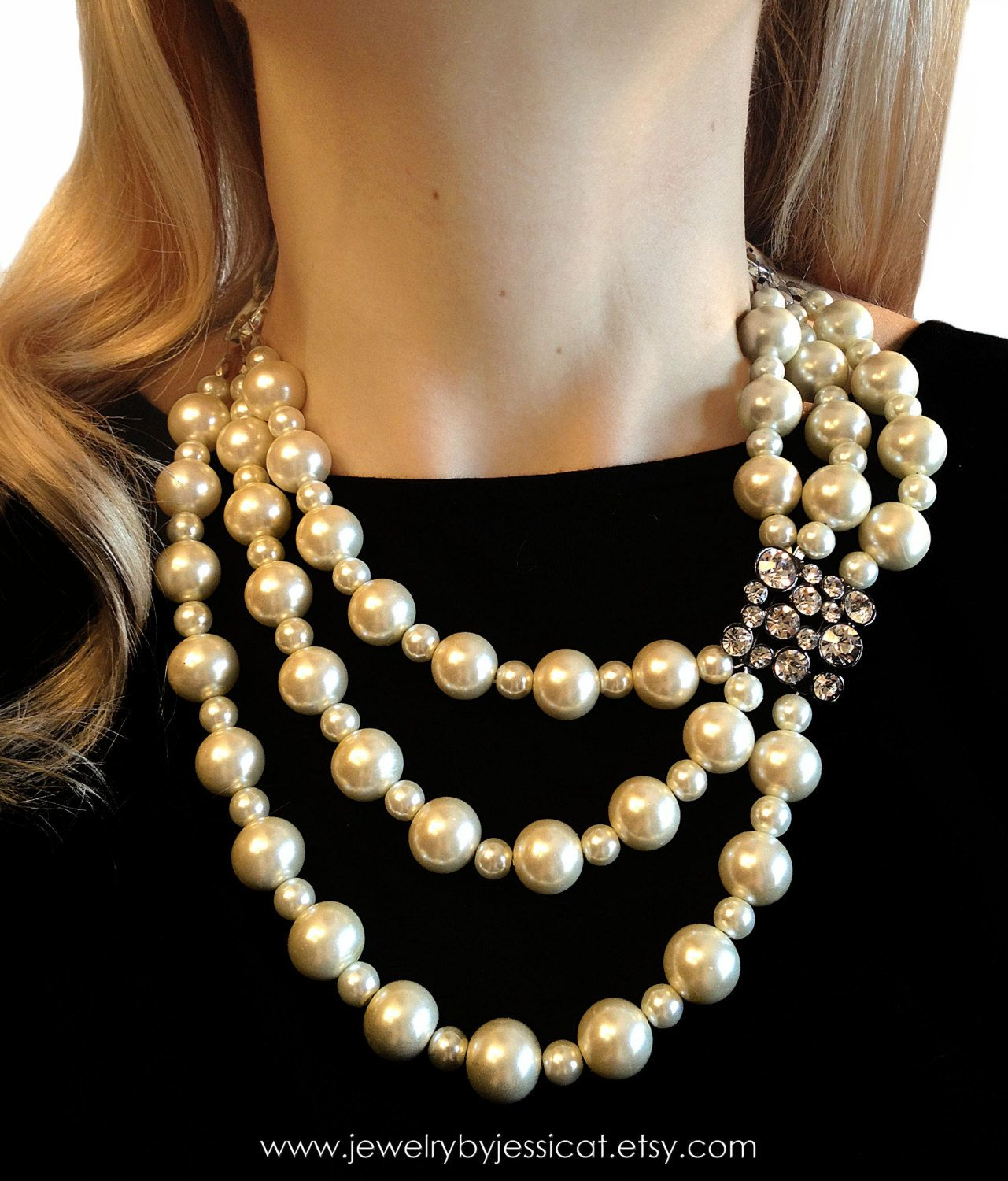 VINTAGE Statement Necklace, Ivory, Antique, Broach, Bridal, Holiday, Multi-strand, Mod, Crystals, Pearls, Jewelry by Jessica Theresa. $60.00, via Etsy.