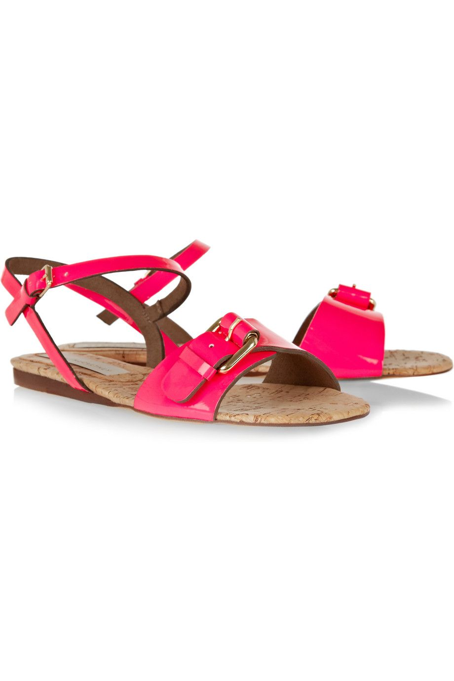 6d40b0a0932 Stella Mccartney Faux Patentleather and Cork Sandals