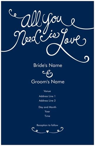 Whimsical Dark Blue Wedding Invitations All You Need Is Love Vistaprint
