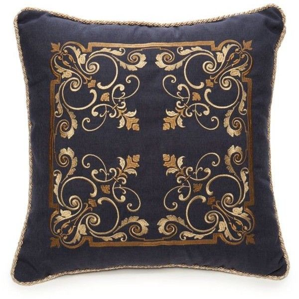 Biltmore Gold Chateau Embroidered Square Decorative Pillow 40 New Navy Blue And Gold Decorative Pillows