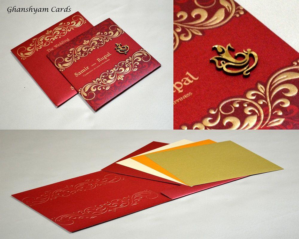 Hindu Designer Wedding Card in Red & Orange with Golden Motifs ...