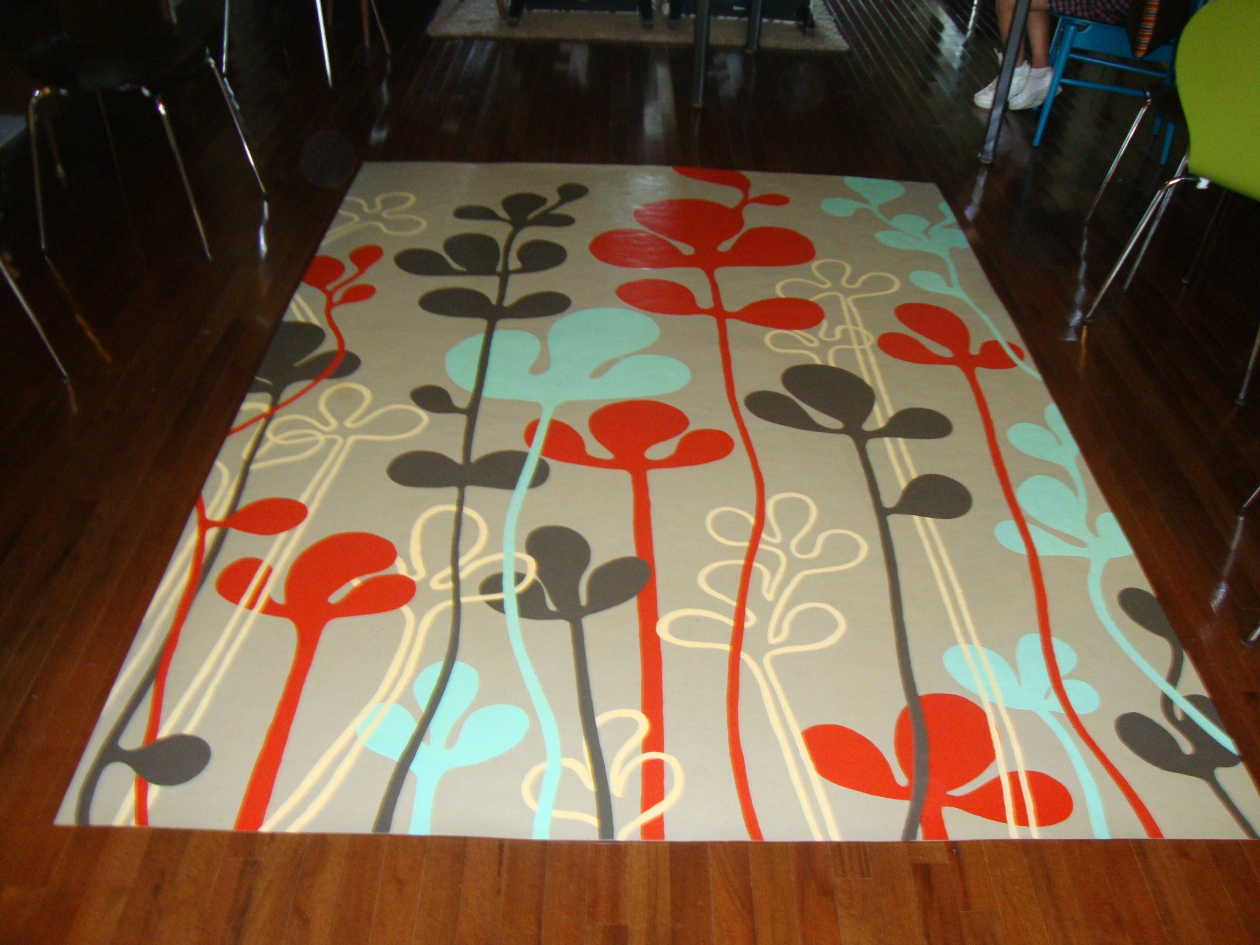 Floor cloth for under dining table painted on the back for Painted vinyl floor cloth