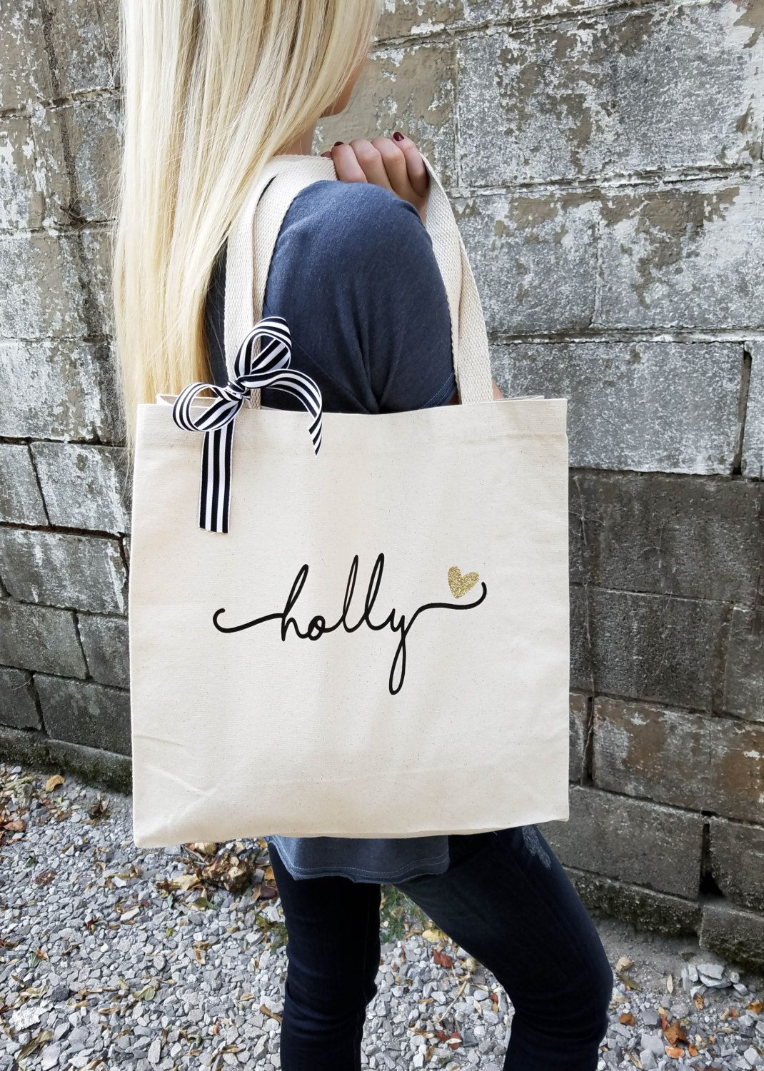 Bridesmaid Tote Bag Personalized Gift Maid Of Honor Totes Bridal Party Bags Br036 By Everlygrayce On Etsy