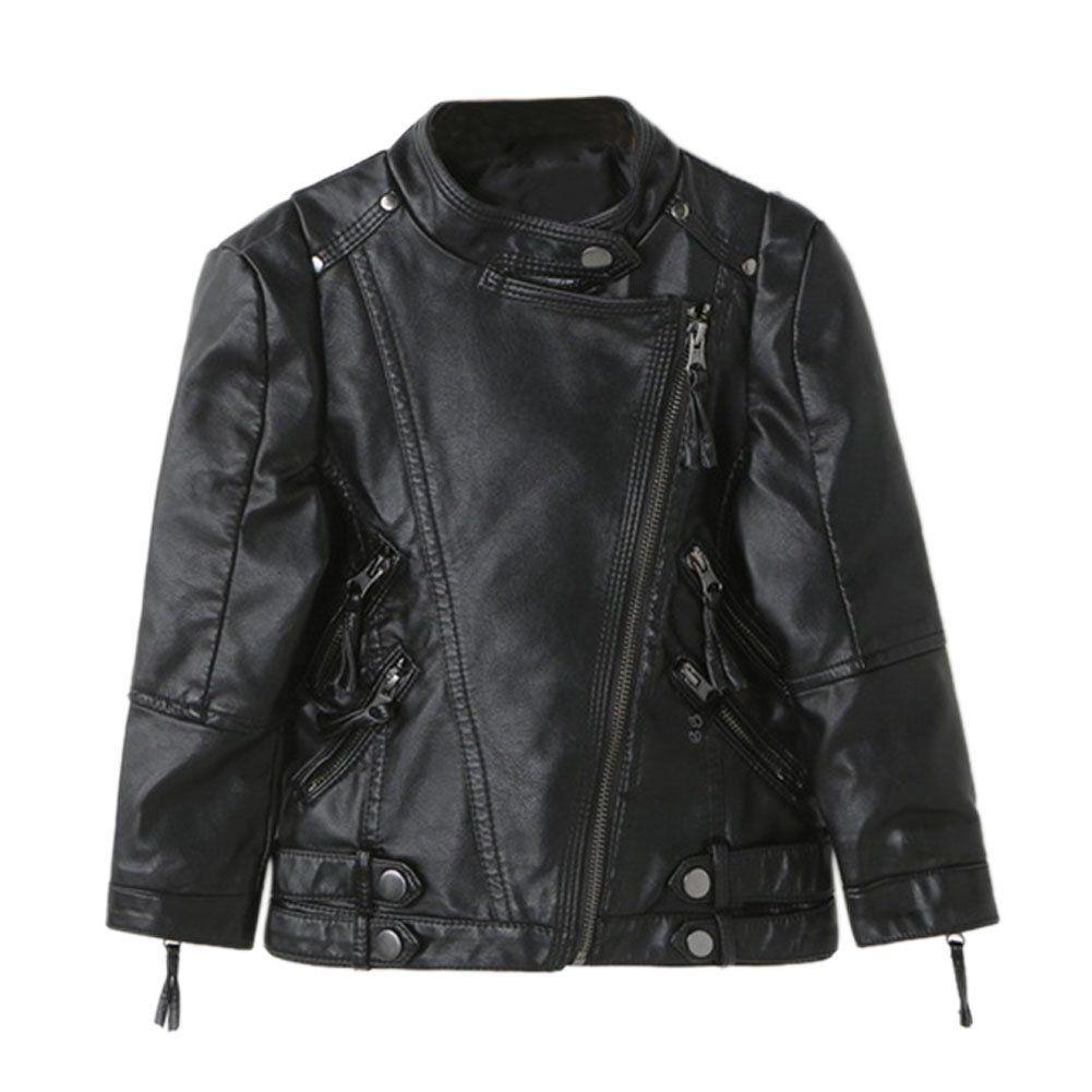 b272fc543be5 Evelin lEE Kids Boys Girls Collar Motorcycle Leather Coat Boys ...
