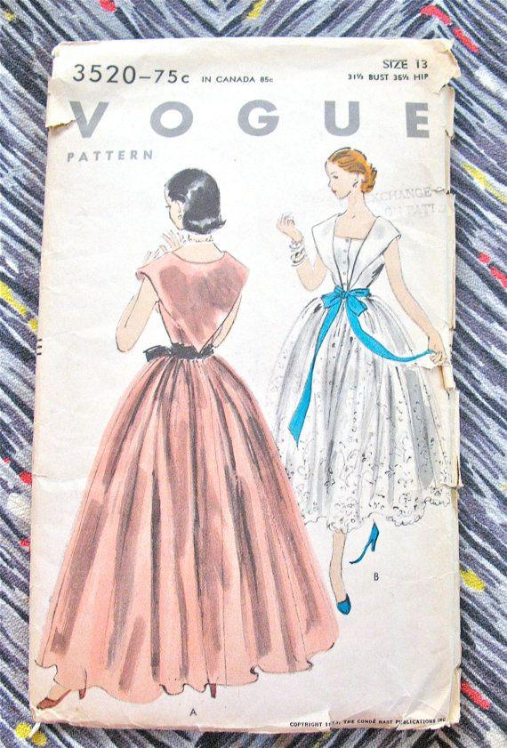 Uncut Vogue 3520 Vintage 1950s Gown Sewing Pattern   by Fancywork, $48.00