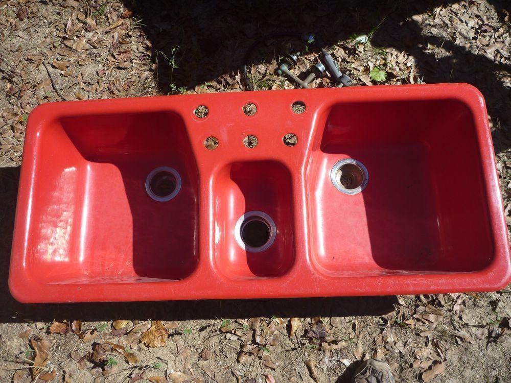 Rare Red Vintage Kohler 48x21 Cast Iron Porcelain Kitchen ...
