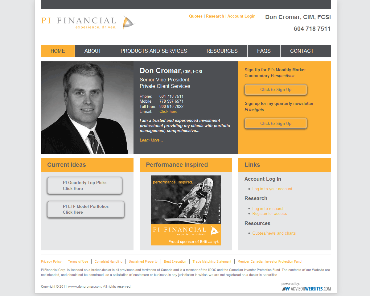 financial advisor website design - Khafre