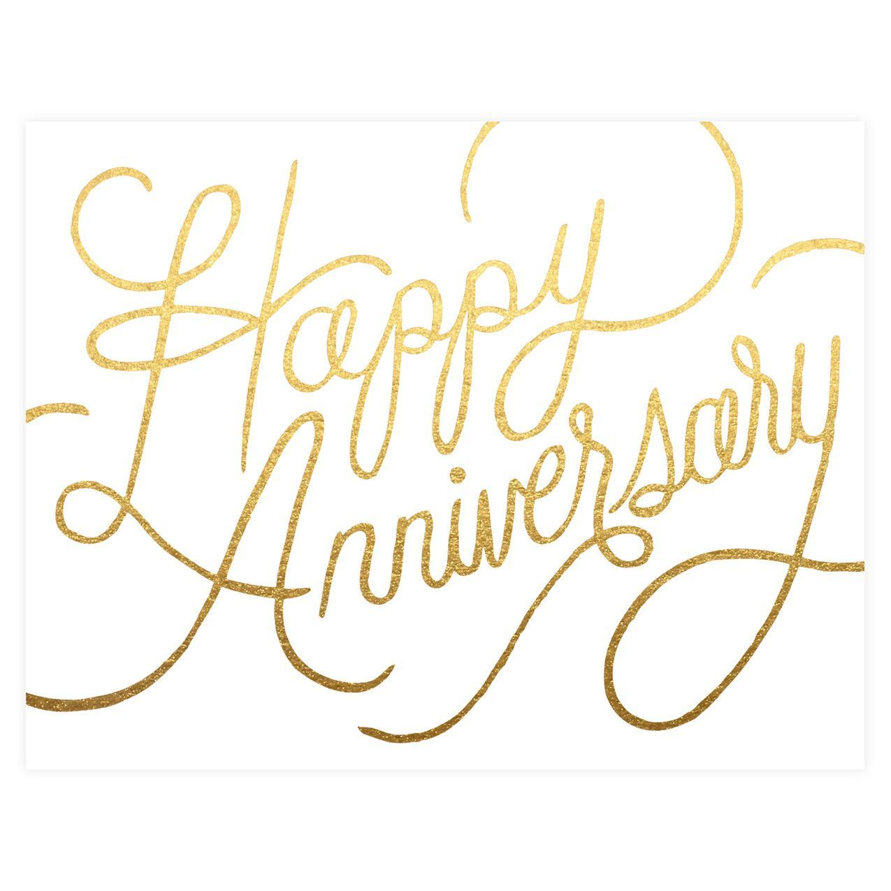 Anniversary wishes printed in metallic gold foil from
