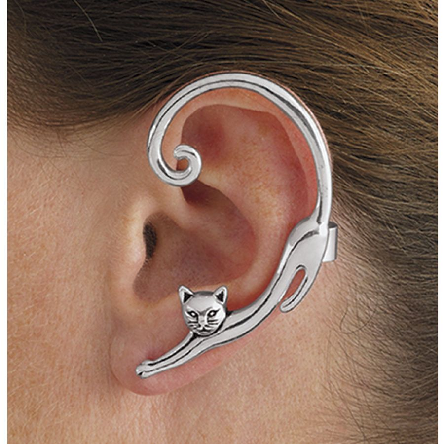 Antiqued Silverplate Single Cat Post Earring with Ear Cuff