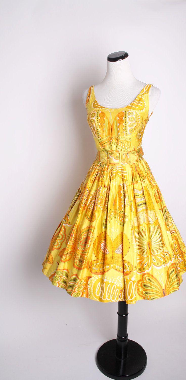 Vintage 1950 S Butterfly Novelty Dress Vintage 1950s Dresses 1950s Cocktail Dress Vintage Dresses [ 1500 x 736 Pixel ]