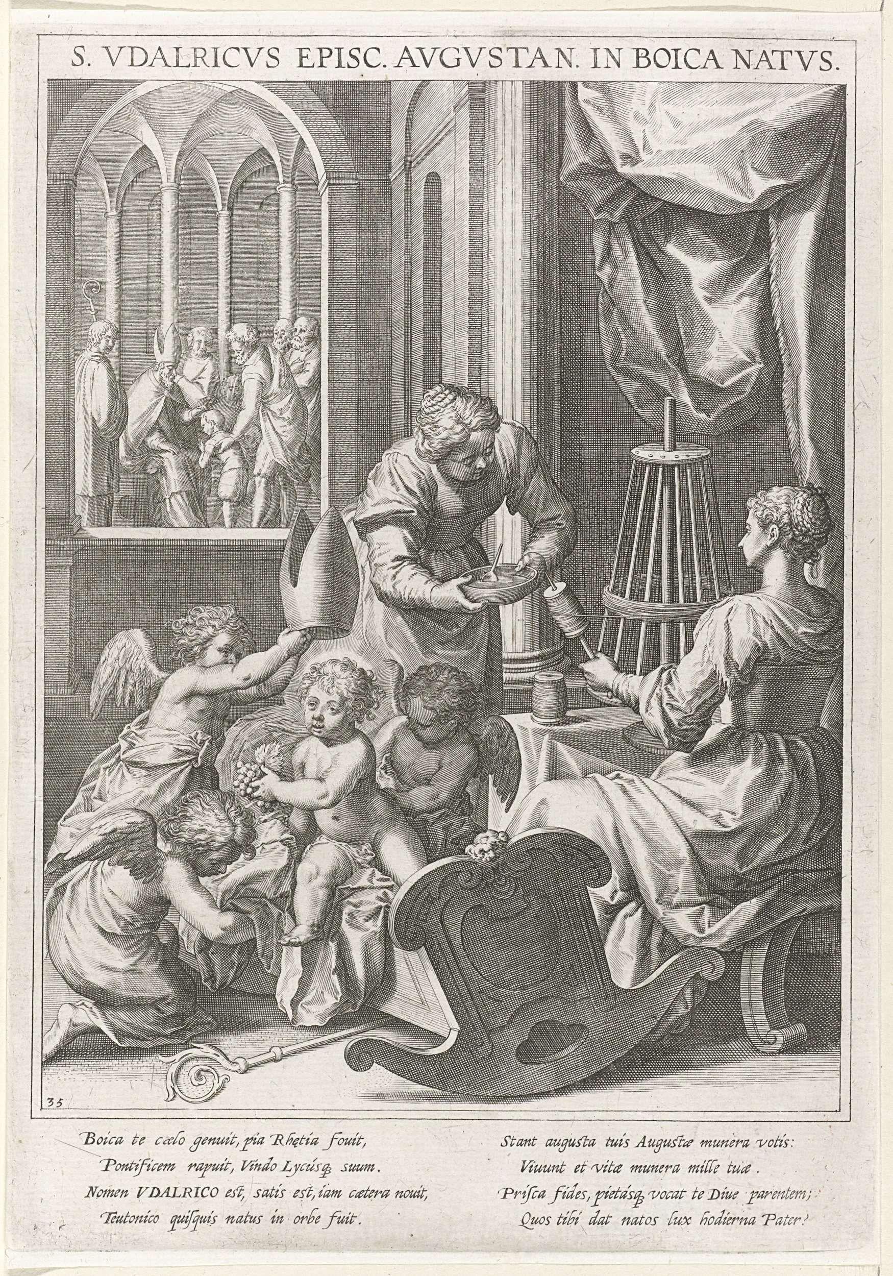Raphaël Sadeler (I) | Heilige Udalricus van Augsburg als kind, Raphaël Sadeler (I), Johann Mathias Kager, Matthäus Rader, 1615 | Op de voorgrond de H. Udalricus van Augsburg als kind in zijn kribbe. Drie engelen kronen hem tot bisschop. Naast hem zijn moeder en een vrouw die met een haspel bezig zijn garen af te winden tot strengen. Op de achtergrond de zegening van een kind door een bisschop. De prent heeft een Latijns onderschrift en is de 35ste prent van een 60-delige serie met als…