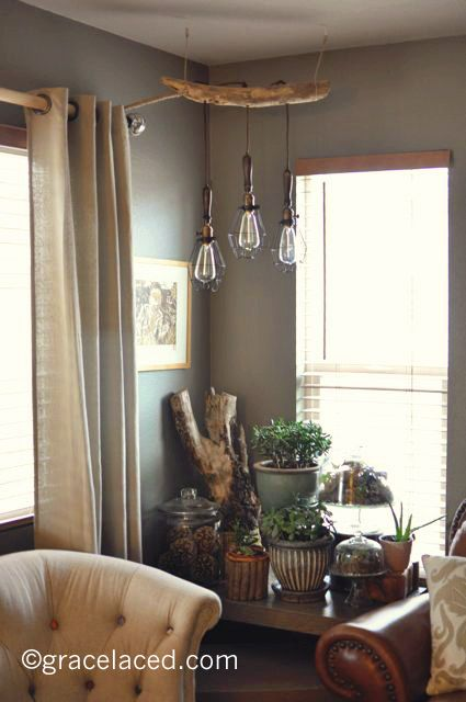 driftwood lighting. diy driftwood 3 light pendant with anthropologie caged lights lighting d