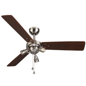 48 In Brushed Nickel Downrod Or Close Mount Indoor Ceiling Fan With Light Kit 3 Blade Ceiling Fan With Light Ceiling Fan Fan Light