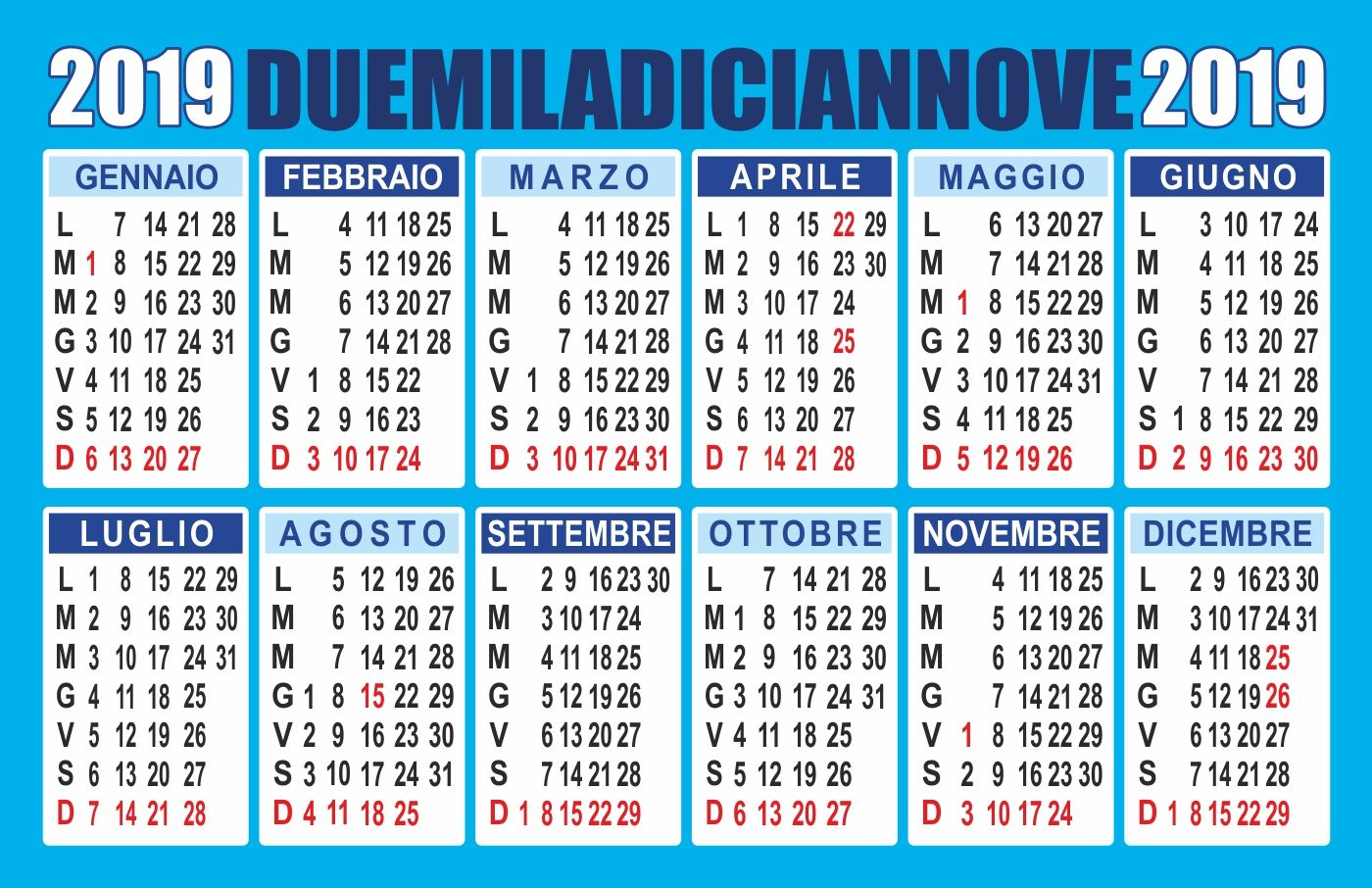 Calendario Con Festivita 2019.Calendario 2019 Pdf Lo Trovi Su Peppecau Com Calendario