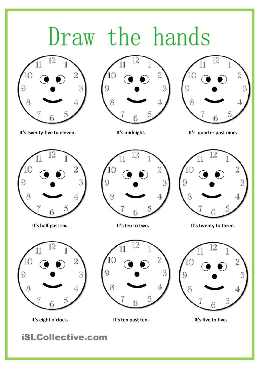 how to teach time to kids worksheets