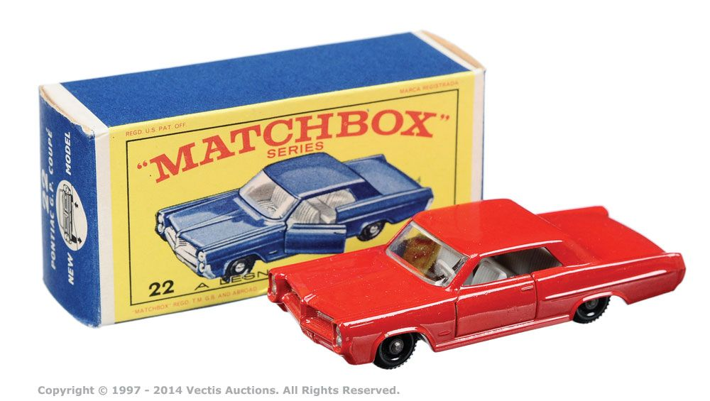 """Matchbox Regular Wheels No.22c Pontiac GP Sports Coupe. Can be found in """"E"""" type box."""