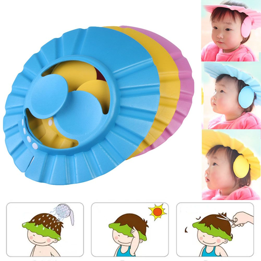 Kids Shower Cap Bathing Hair Shield Baby Shampoo Protect Ear Hat Adjustable Hot
