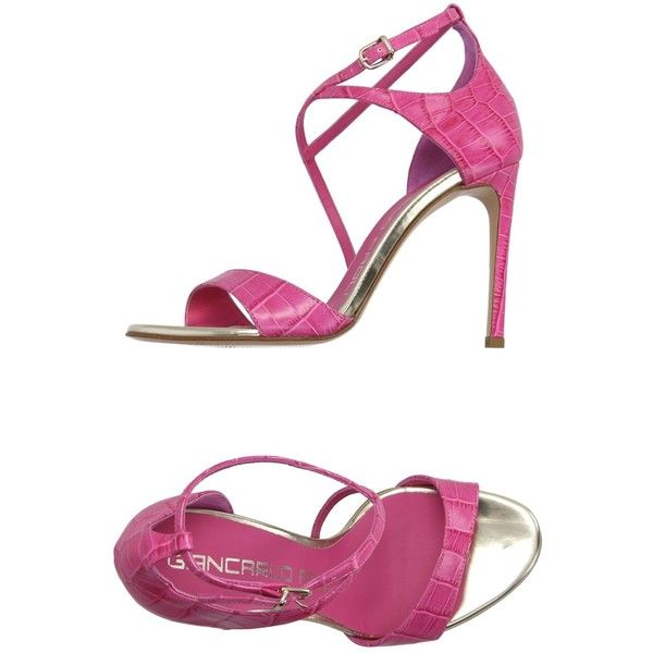 Giancarlo Paoli Sandals (£122) ❤ liked on Polyvore featuring shoes, sandals, fuchsia, crocodile shoes, buckle shoes, leather sole shoes, fuschia shoes and buckle sandals