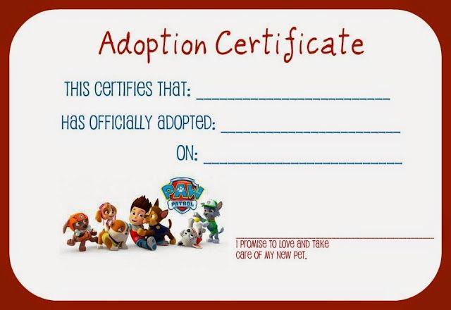 Paw Patrol Party Free Printable Doggy Adoption Certificate  Paw