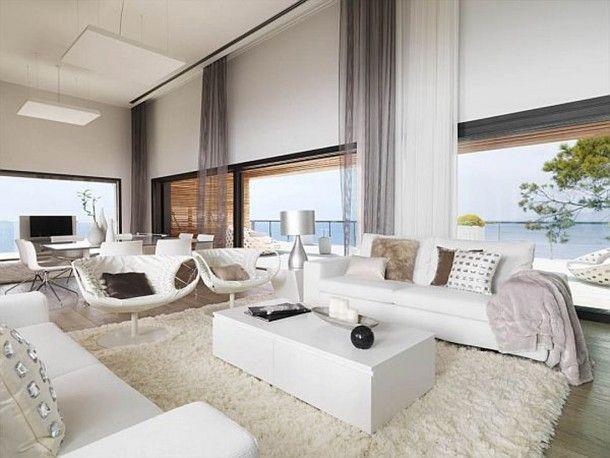 Interior Transparent Gray Sheer Crest Home Design Curtains Facing Glass  Windows And White Fabric Sofa Rectangle