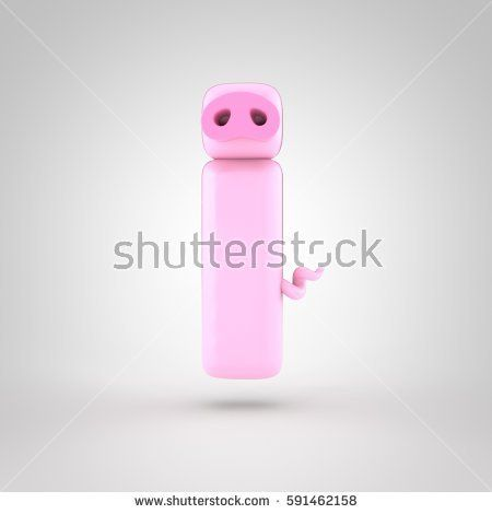 Cute Piglet Pink Letter I Lowercase With Snout And Tail 3d Render