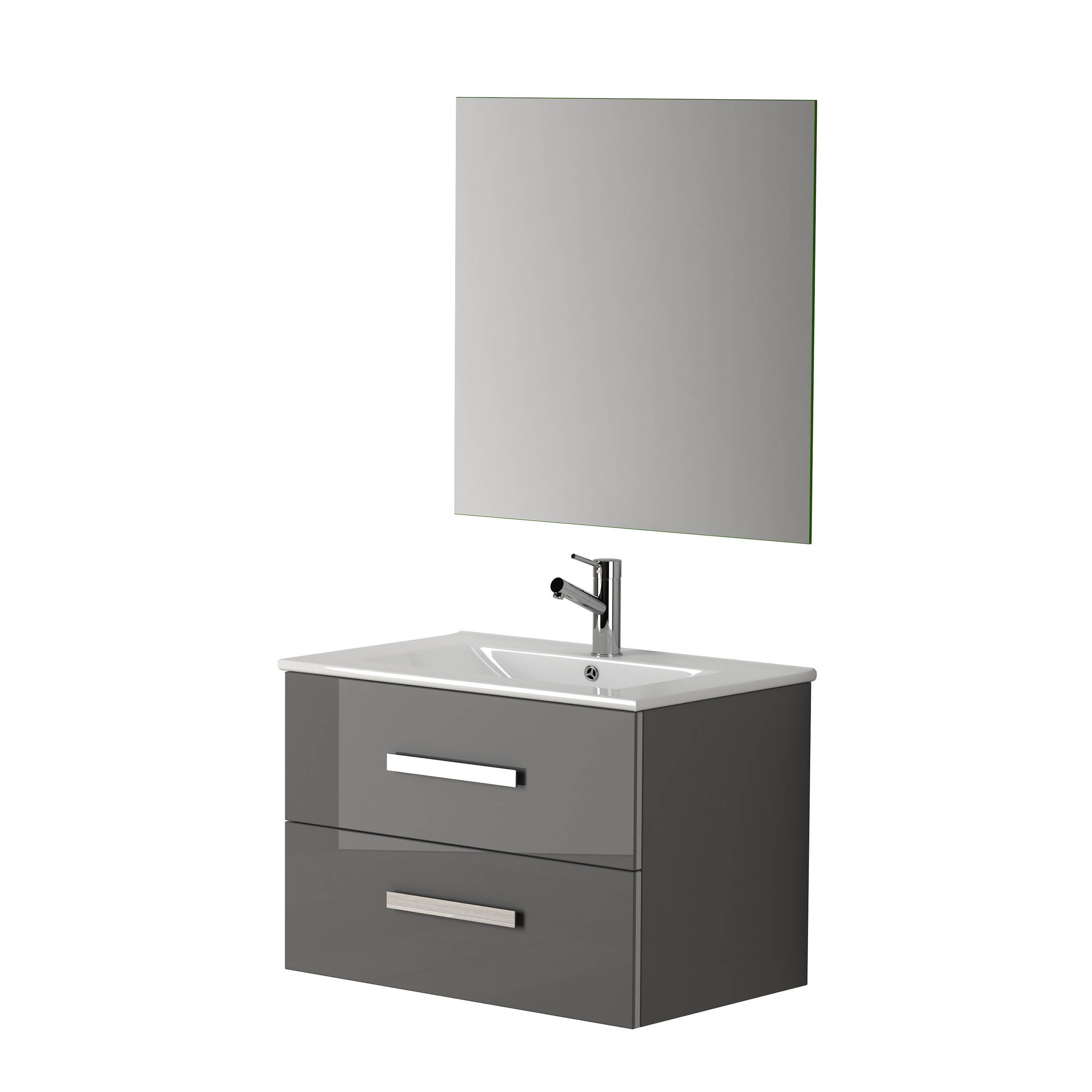 Eviva Lugano Modern Grey Oak 24 Inch Bathroom Vanity With White