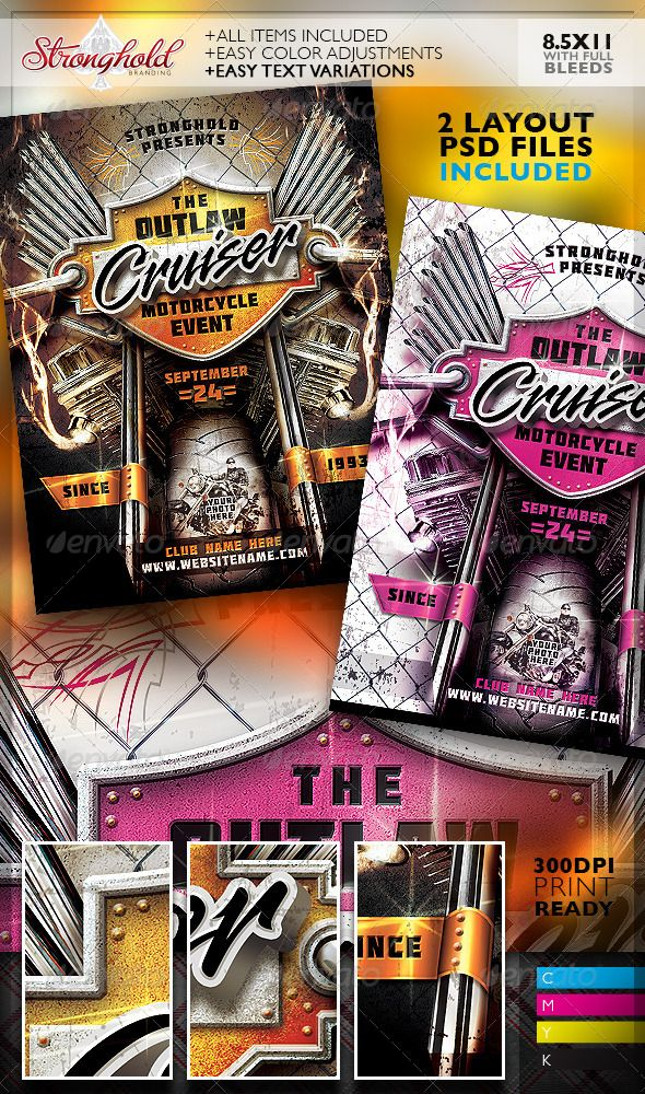 Outlaw Motorcycle Event Flyer Template Vintage Flyers Pinterest