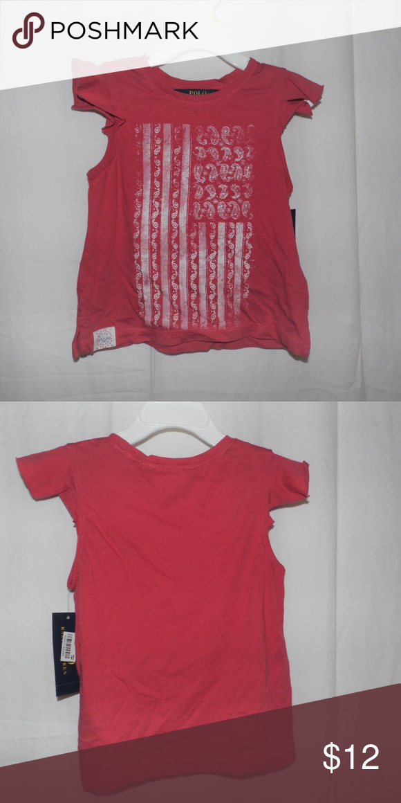3284ed0a Polo Ralph Lauren Girls Red Flag Shirt 4 4T NWT Brand new with tags Polo  Ralph Lauren Girls Red Short Cap Sleeve Paisley Flag Shirt Size 4 4T Polo  by Ralph ...
