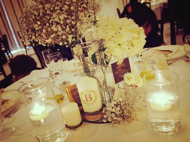 結婚式 ゲストテーブル · 装花 DIY テーブルナンバー キャンドル
