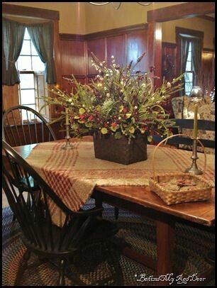 Centerpiece On The Table& The Chairs Christmas  Pinterest Amusing Primitive Dining Room Sets Decorating Inspiration