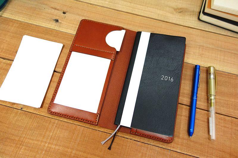 Hobonichi Techo Weeks Leather Cover, Chestnut, Copper, Index Card, pen sleeve, card holder. StrideRidge.com