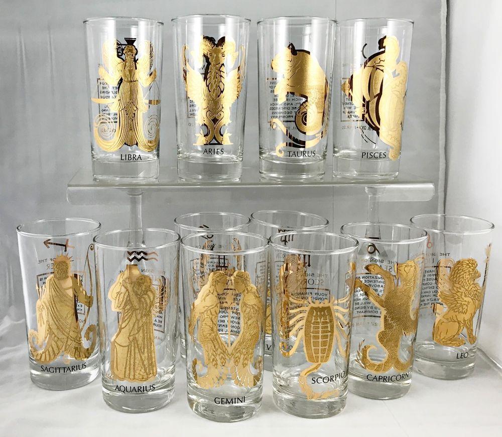 12 Zodiac Tumblers Glasses Heavy Gold Decoration Complete Set Retro Glassware Retro Glassware Gold Decor Glassware