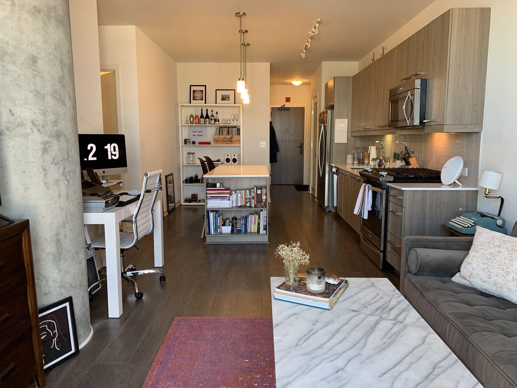 Modern And Contemporary Kitchen And Living Room With Dark Hardwood Floors Pendant Lighting Expose Hardwood Floors Dark Lofts For Rent White Quartz Countertop