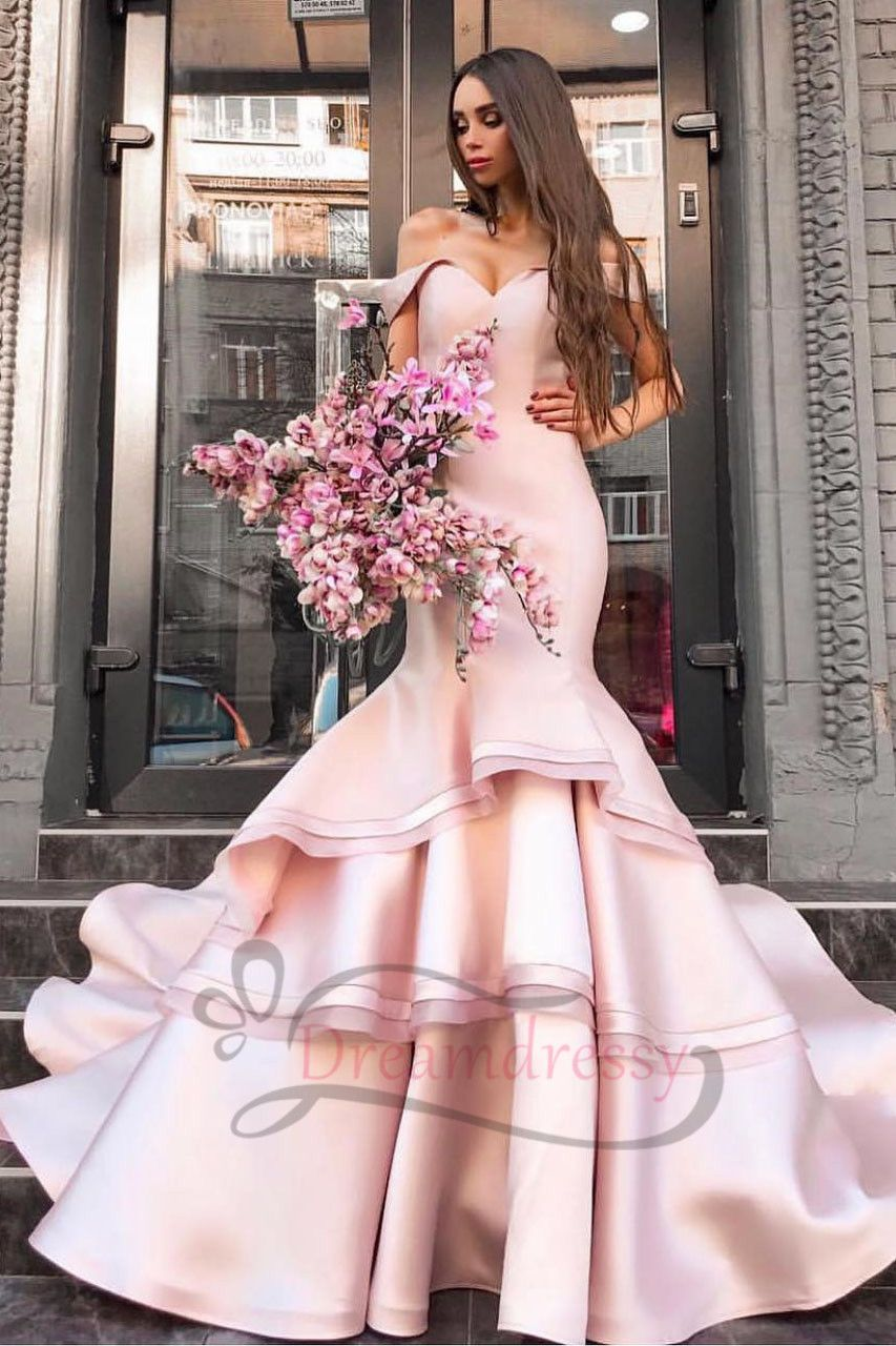 Off the shoulder pink prom dress mermaid long prom dresses