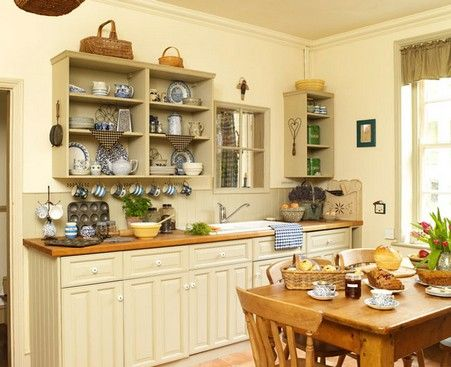 Modern Country Kitchen Warm Cream Color Cabinets Without Upper Cabinets Simple Design With