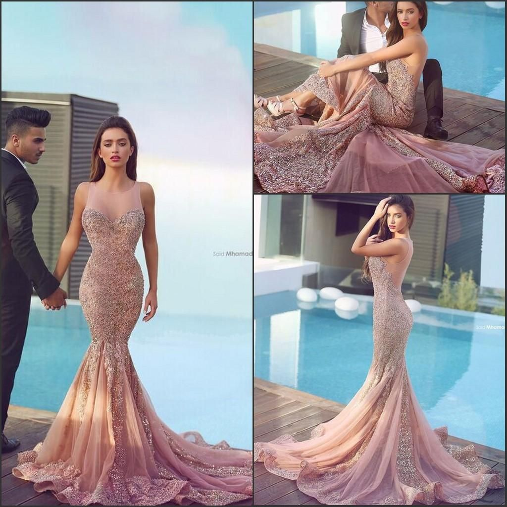 2016 Skin Pink Arabic Mermaid Prom Dresses Plum Lace Appliques ...
