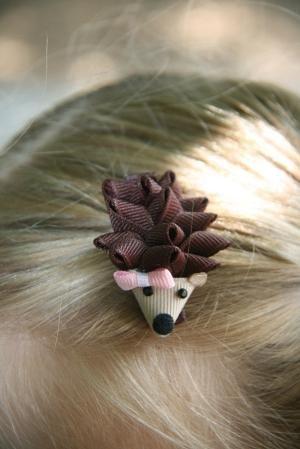 Hedgehog Ribbon Sculpture Hair Clip by Núria Riera