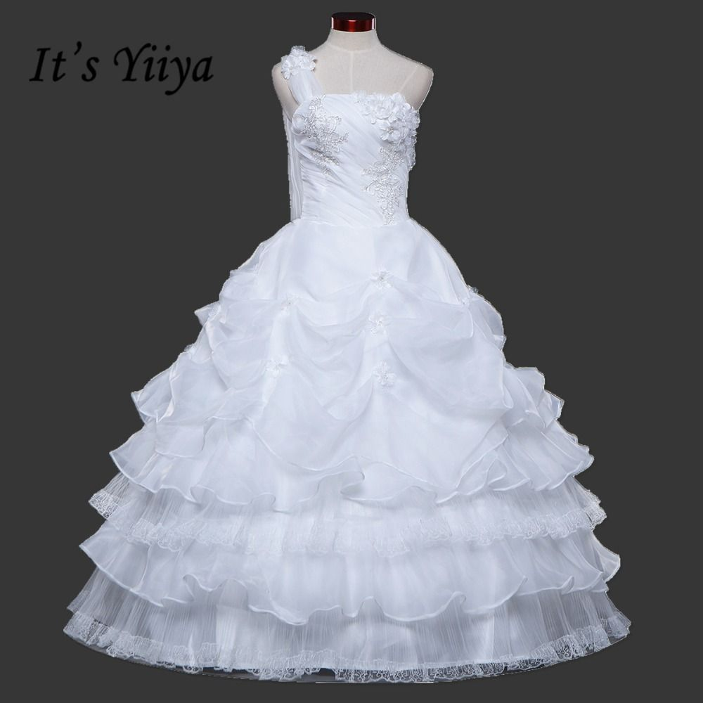 White and blue wedding dress  Click to Buy ucuc  New Arrival Real Photo Plus size One Shoulder