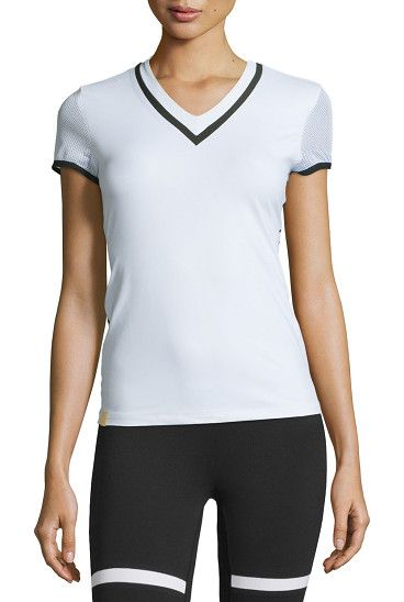 """On SALE at 40% OFF! Net Gains High-Performance V-Neck Tee by Monreal London. Monreal London """"Net Gains"""" tee in high-performance technical jersey with contrasting stripes. V neckline; golden logo..."""