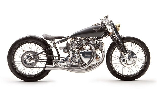 The Black Falcon from LA's Falcon Motorcycles, is a true ground-up custom. Built around the rare & legendary Vincent Black Shadow motor, a custom frame, front end, brakes, tins and much more were all one-off creations for this beastly bike. Museum quality construction and 140 mph