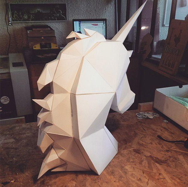 Paper Unicorn made by Tougui / back view www.tougui.fr  Low poly - polygon paper