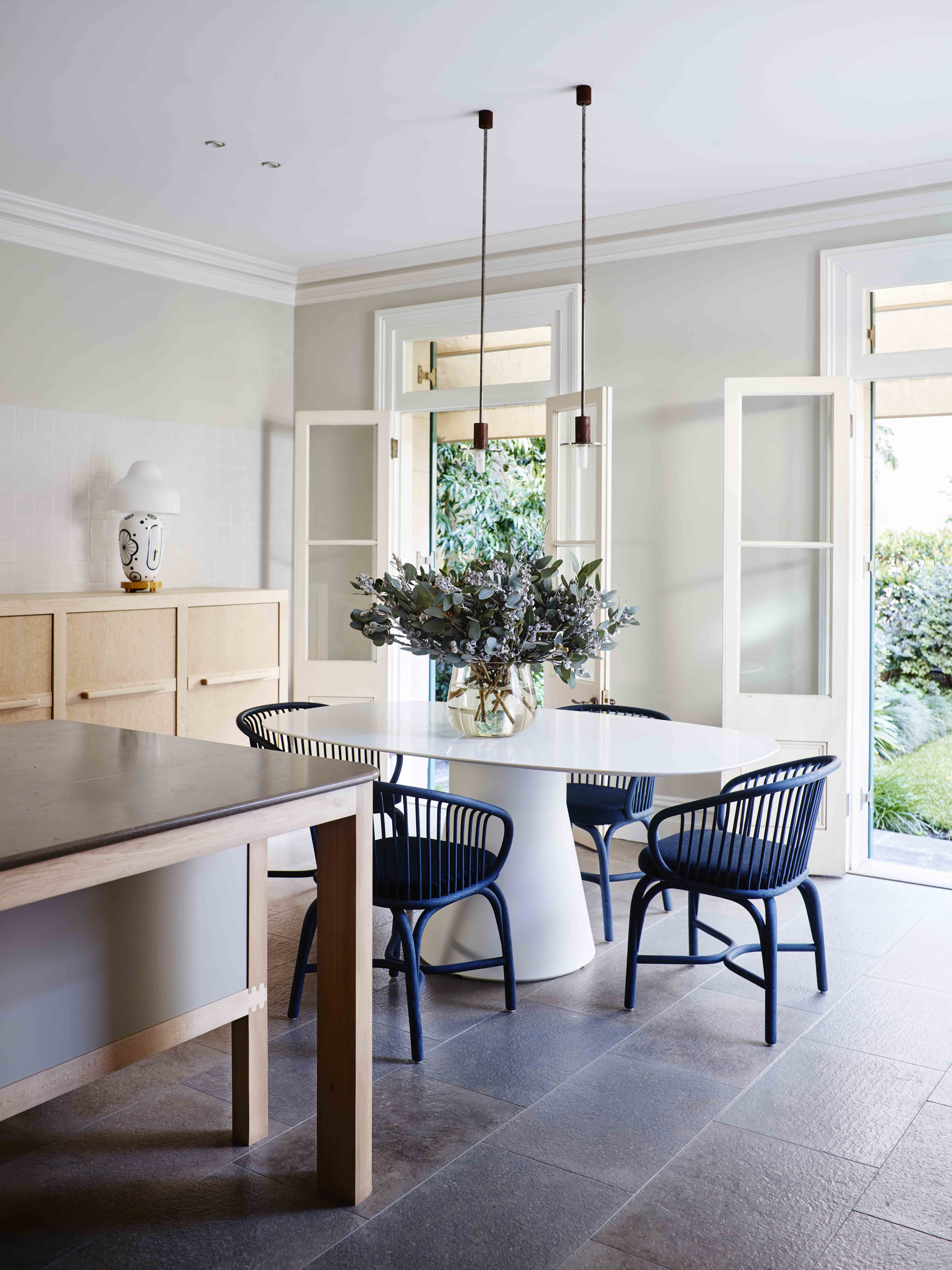 Contemporary kitchen to Sydney heritage house. French doors open to ...