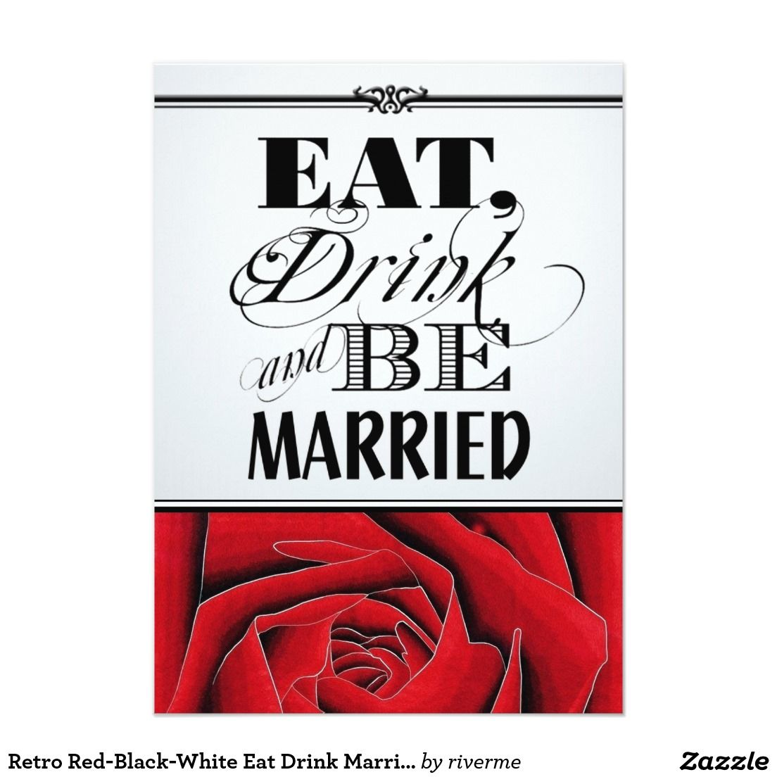 Retro Red-Black-White Eat Drink Married Wedding Card | bridal shower ...