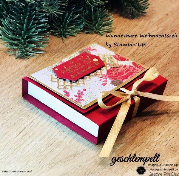 Klappbox - Gutscheinverpackung - wunderbare Weihnachtszeit - eine Anleitung mit den Produkten von Stampin´Up! - geschtempelt - Gesche Preißler, Geschtempelt, stampin Up, DIY, Selbermachen, Basteln mit Papier, Stempeln, Stempel, Stanze, Papier, Kreativ, Bestellen, Demonstrator werden, einsteigen, Anleitung, Tutorial, Verpackung, Box mit Klappdeckel, Gutscheinverpackung, Wunderbare Weihnachtszeit, Festtagsrose, Rose, Youtube, Video