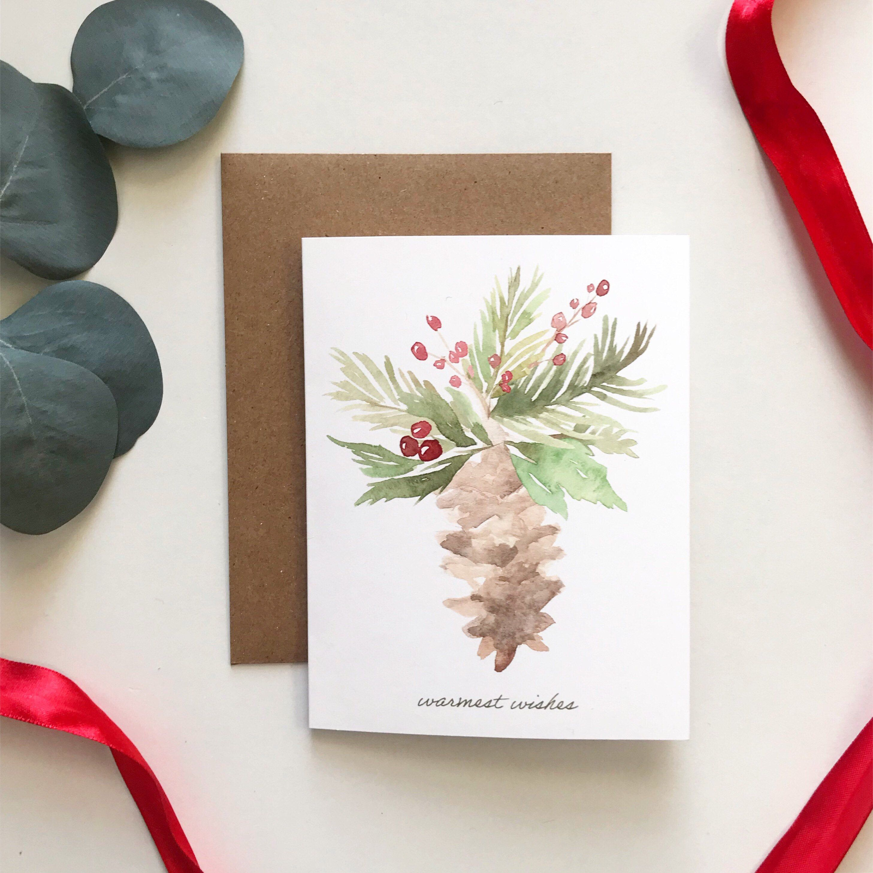 Rustic Winter Holiday Card Watercolor Christmas Greeting Card